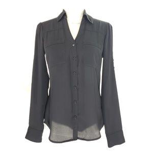 Express Black Button Up Blouse, Size XS